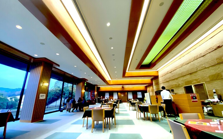 A photo of the Leograd golf course clubhouse interior in Wakayama, Japan.