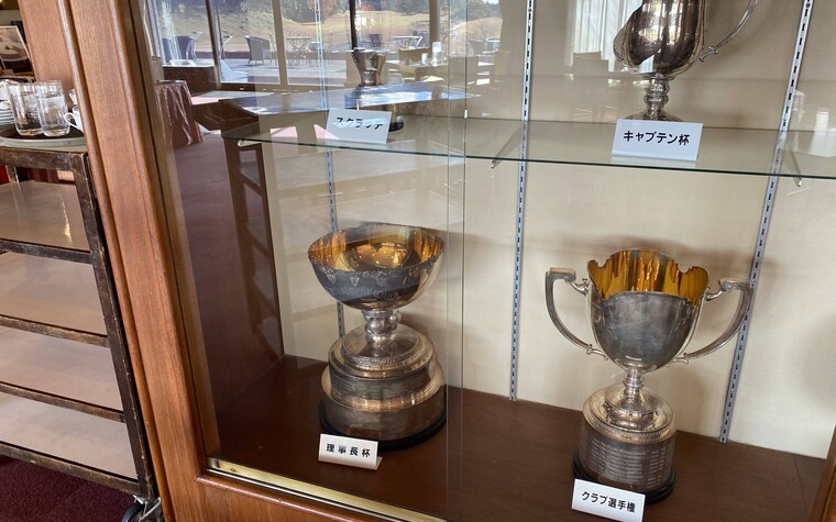 Suzuka Country Club, golf trophies in the trophy cabinet in Mie prefecture, Japan