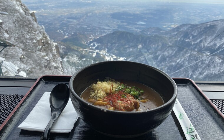 A bowl of curry udon at the visitor's center near Gozaisho ropeway in Mie prefecture, Japan