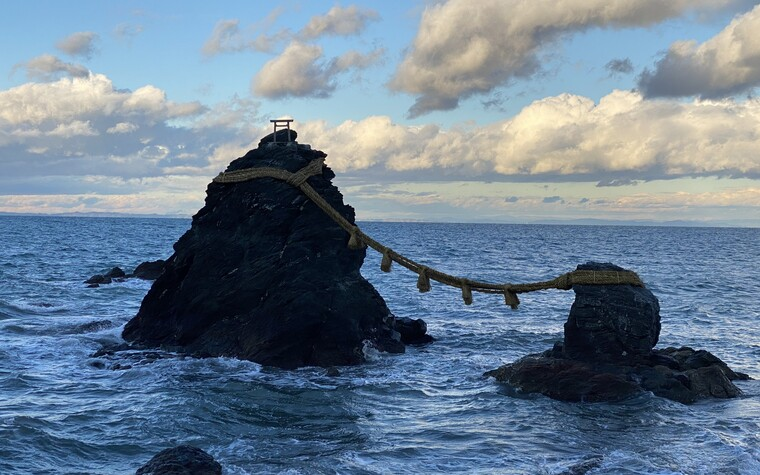 The Meoto-Iwa 'wedded rocks' close to the Ise Jingu in Ise Shima, Mie prefecture, Japan
